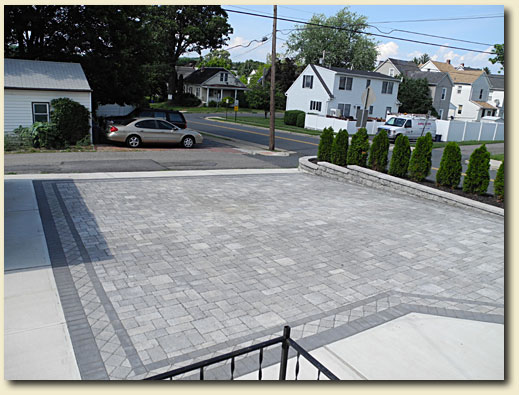Large Paver Driveway with retaining wall